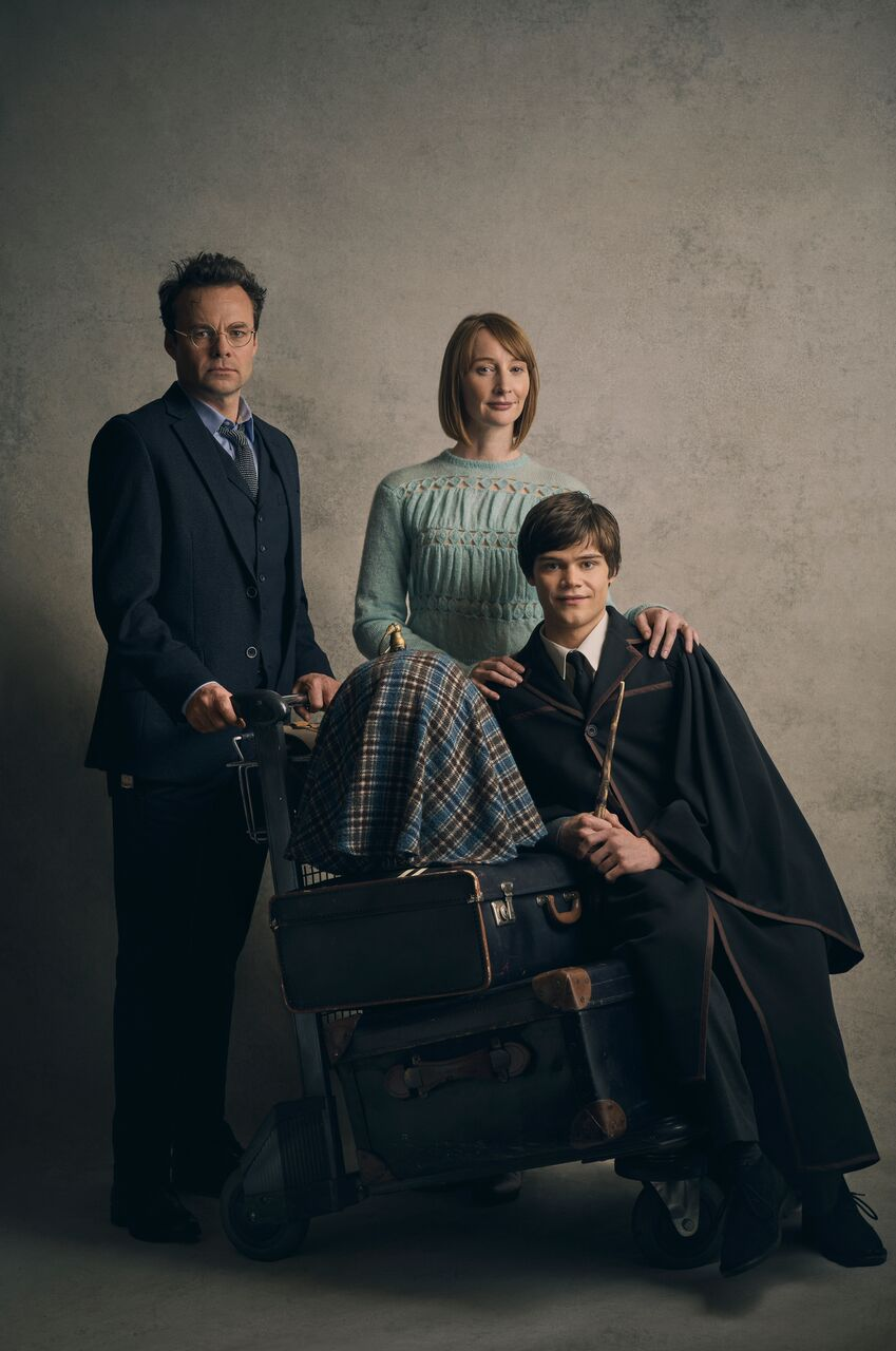 L-R: Jamie Glover as Harry Potter, Emma Lowndes as Ginny Potter and Theo Ancient as Albus Potter.