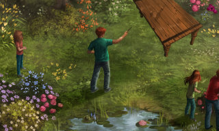 Charlie Weasley levitating a table in the garden of the Burrow
