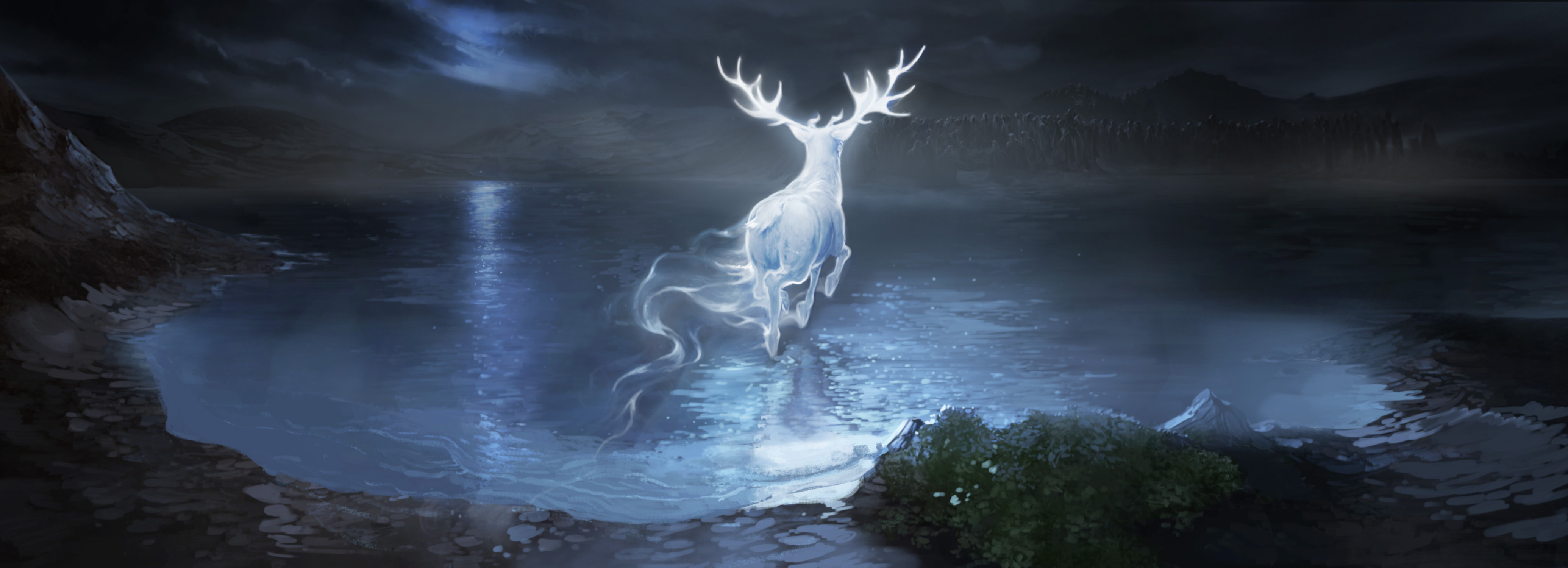 Harry's stag patronus charges across the lake towards the Dementors.