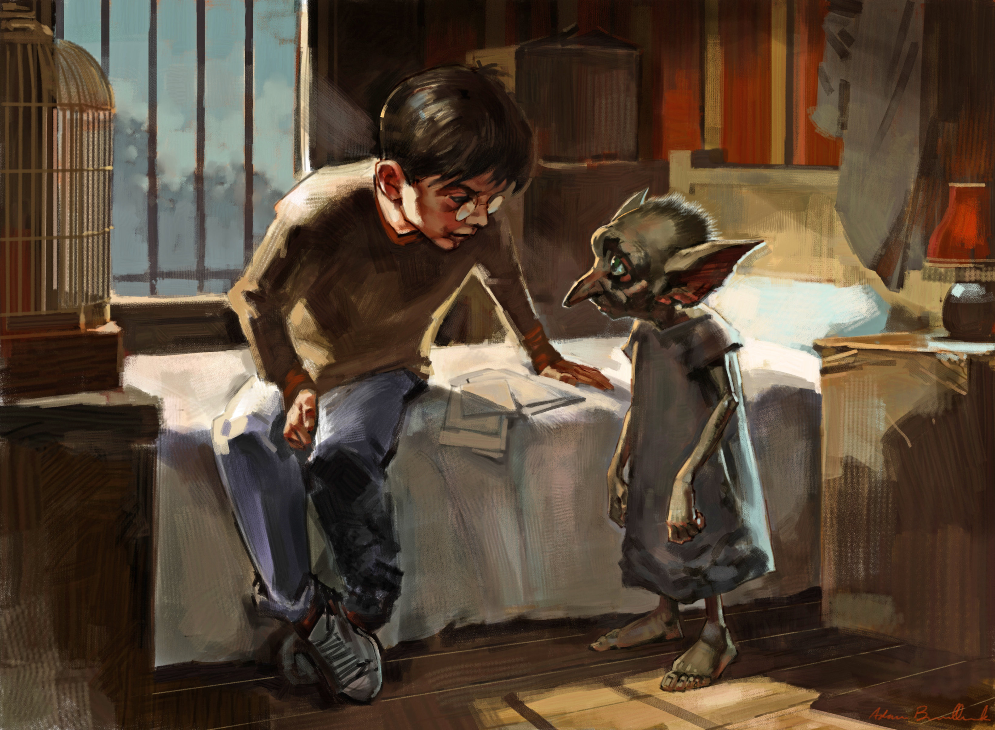 An illustration of Dobby in Harry's bedroom.