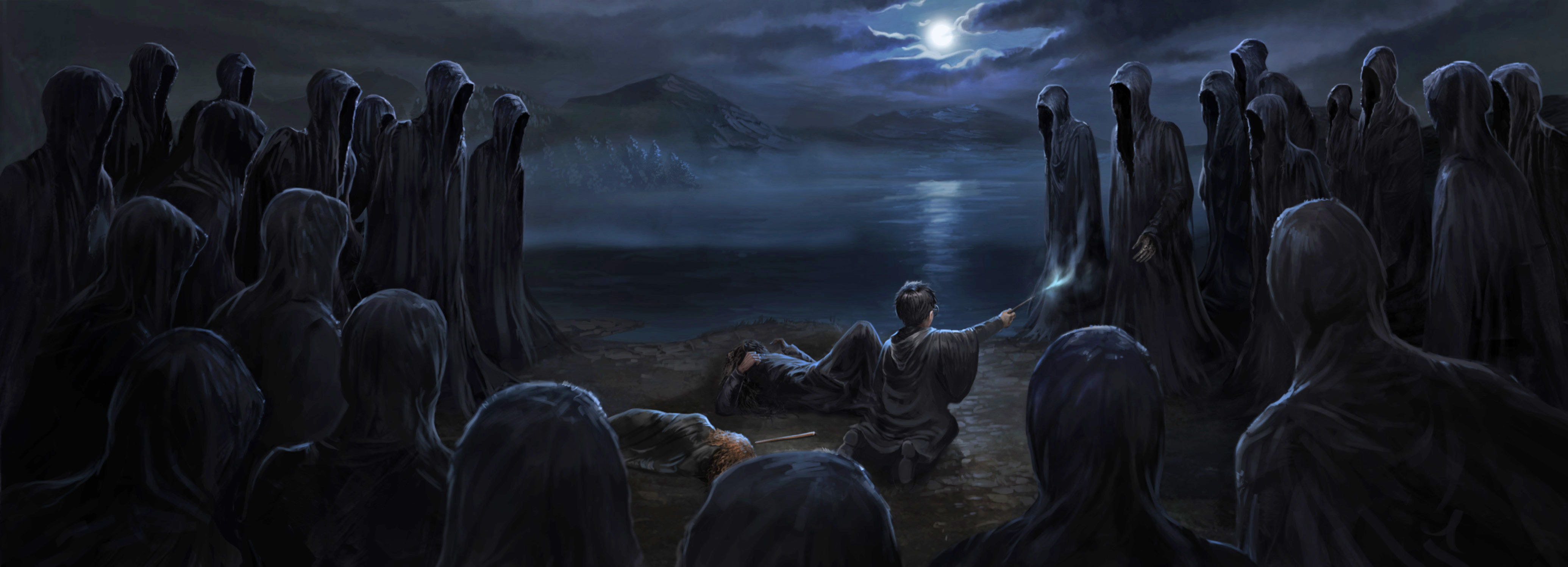 Harry, Hermione and Sirius are overwhelmed by a swarm of Dementors by the lake.
