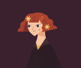 Illustration of Lavender Brown from the Dumbledore's Army infographic