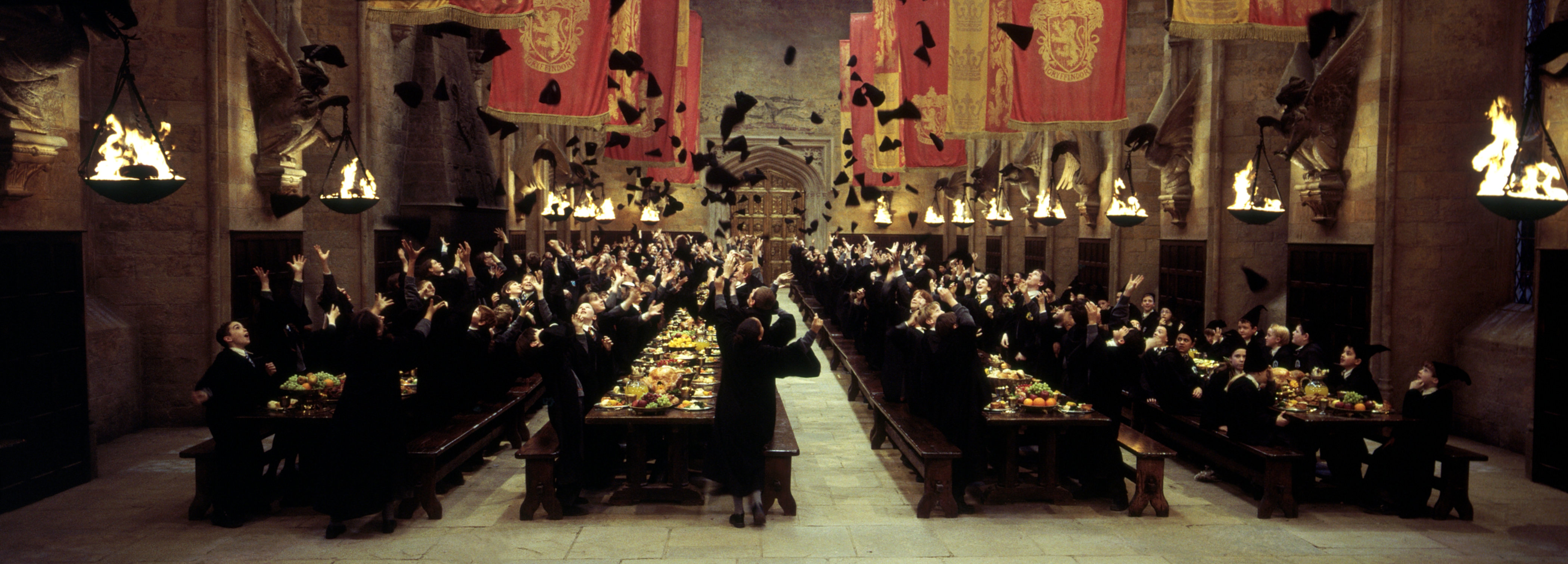 Hats fly in the air when Gryffindor win the House Cup