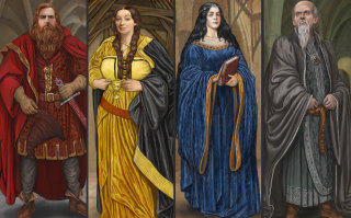 Illustration of founders of the four houses - Gryffindor, Hufflepuff, Ravenclaw and Slytherin