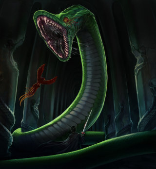 Basilisk being fought by Fawkes