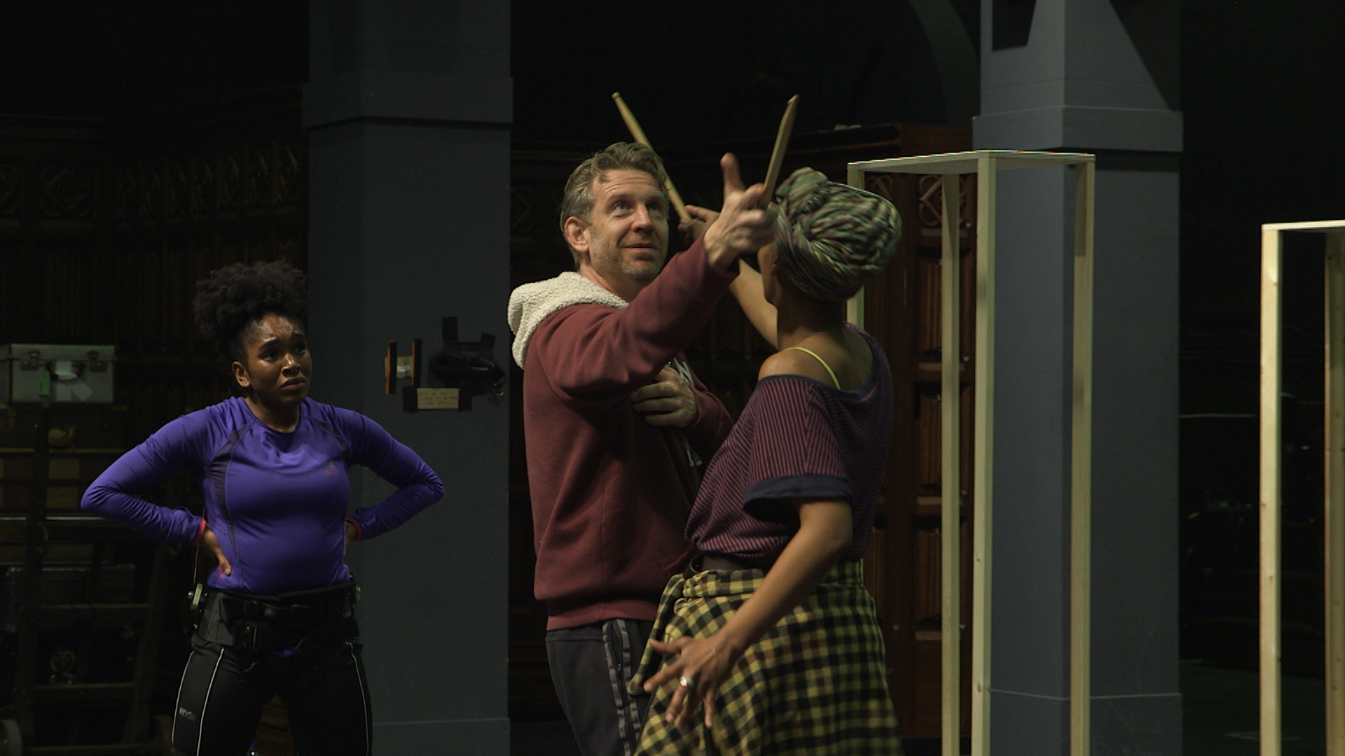 Cherrelle Skeete, Noma Dumezweni and Paul Thornley rehearsing a scene from Harry Potter and the Cursed Child