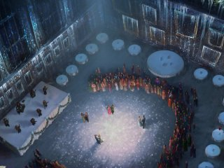 A birds eye view of the four champions dancing at the Yule Ball.