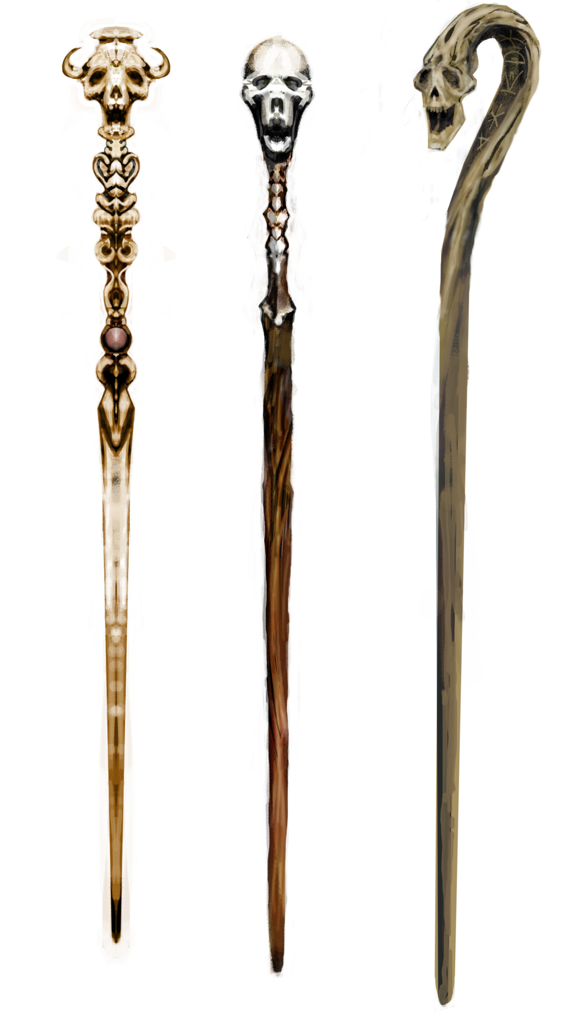 Three of the Death Eaters wands from the Goblet of Fire