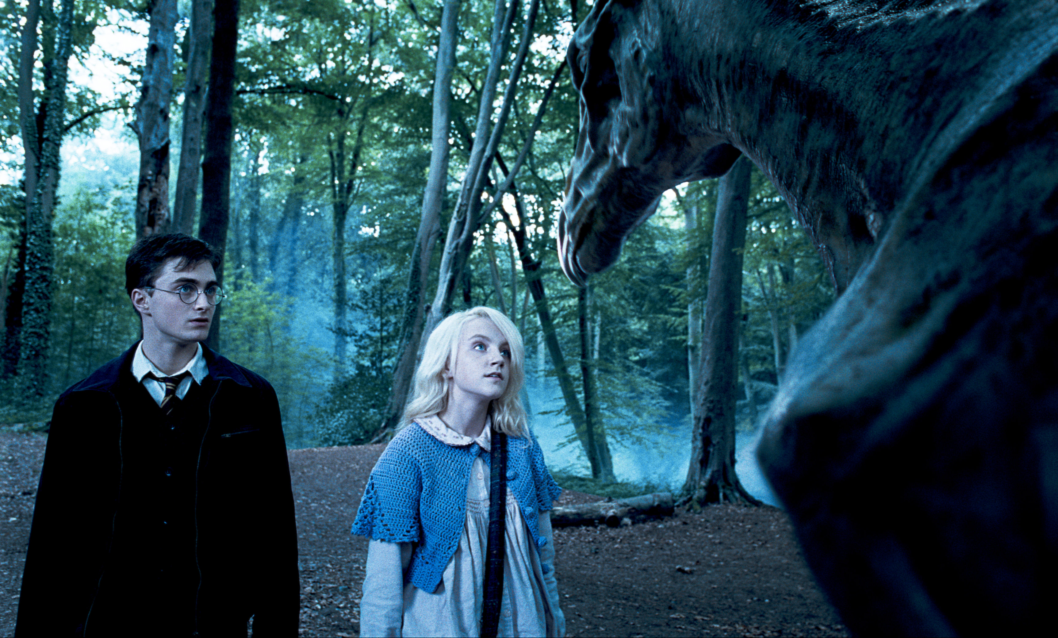 Harry and Luna look at Thestrals in the forest in a still from the Order of the Phoenix.