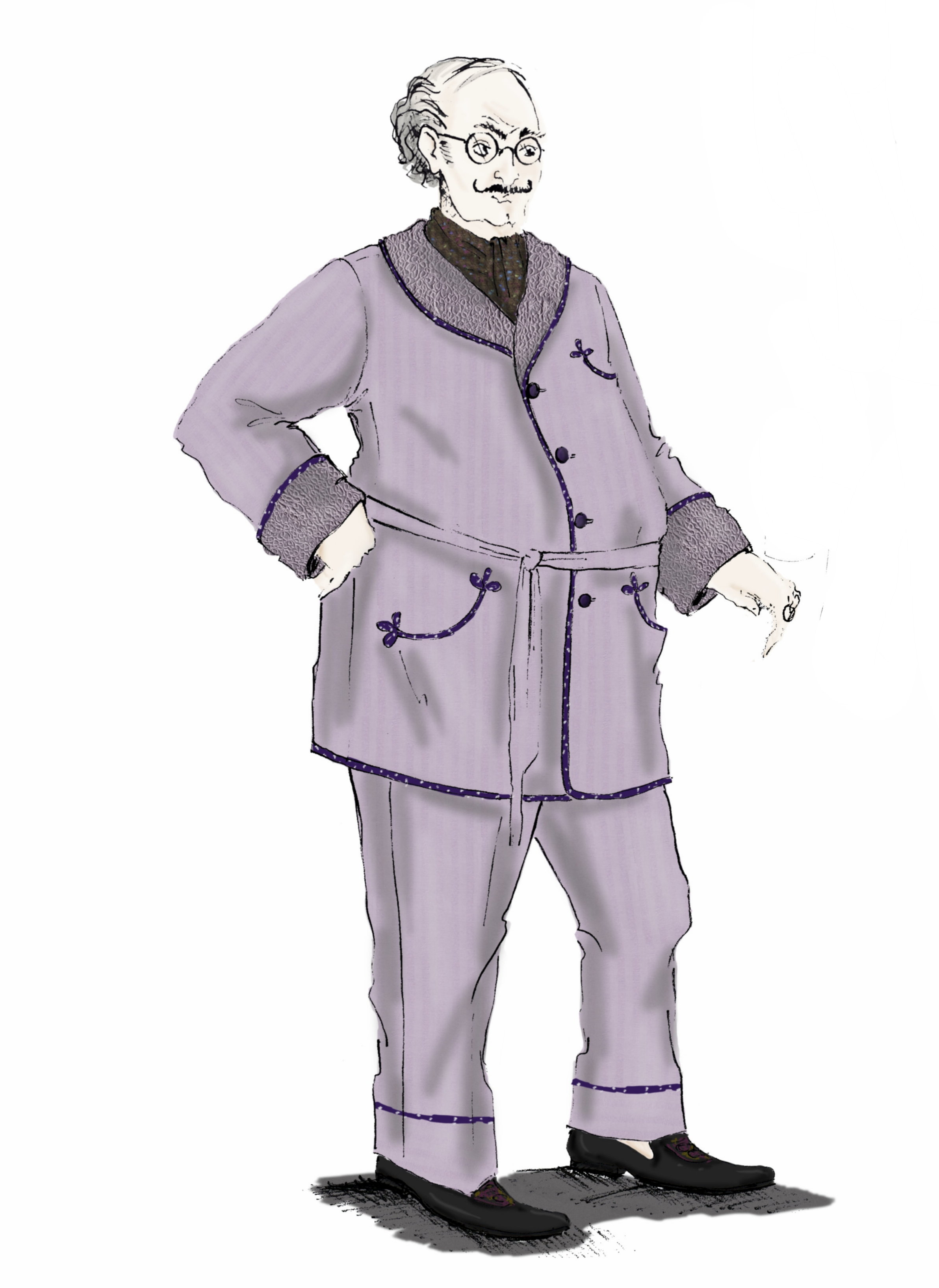 An illustration of Slughorn in his pyjamas.