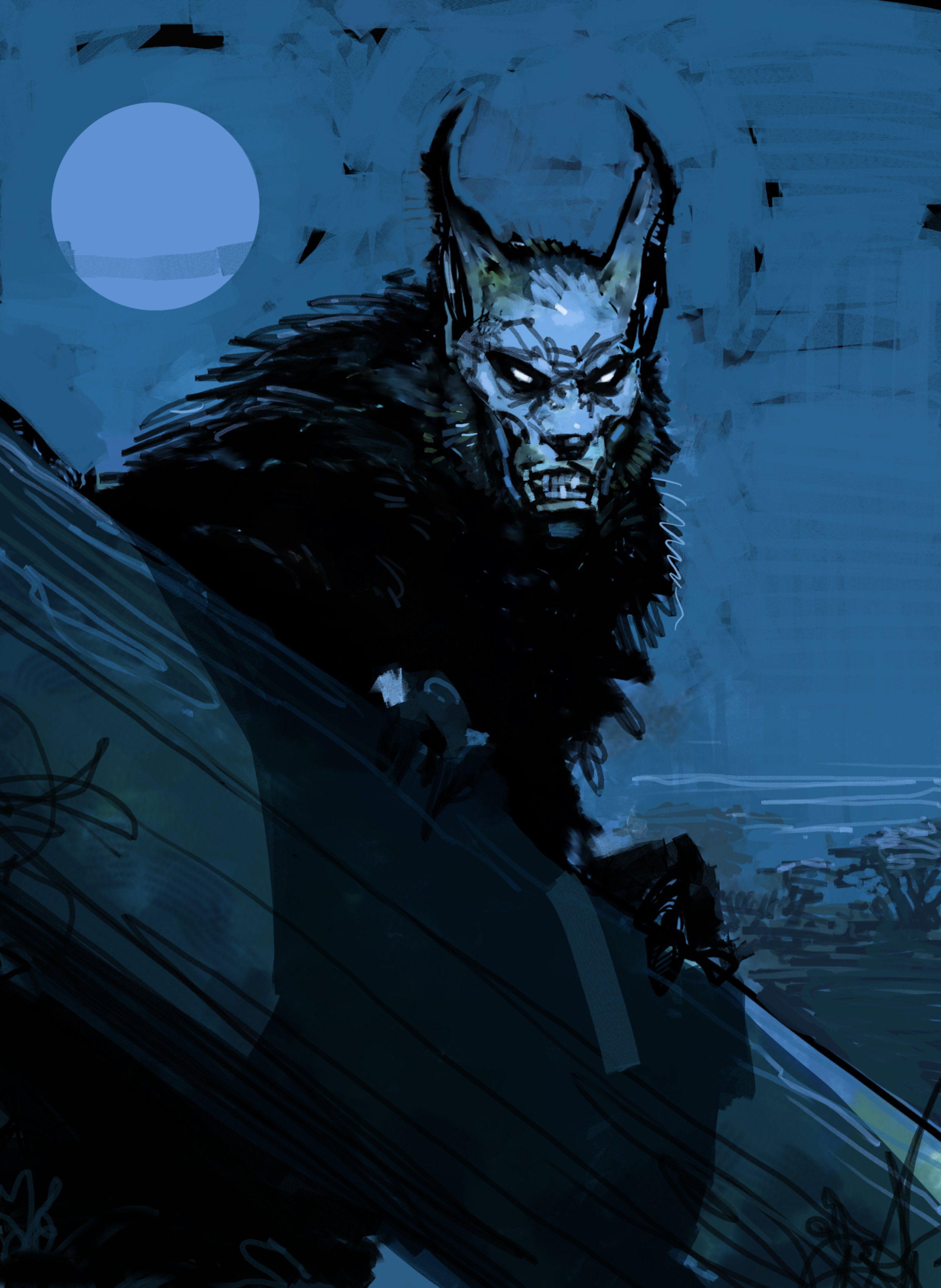 A werewolf snarling under a full moon from the Prisoner of Azkaban