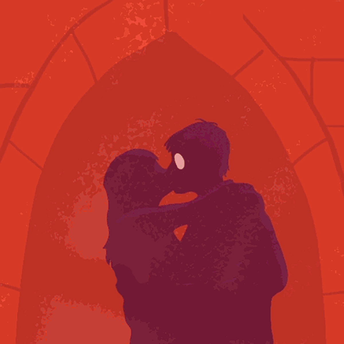 Illustration of Harry Potter and Ginny Weasley kissing from Read the Magic