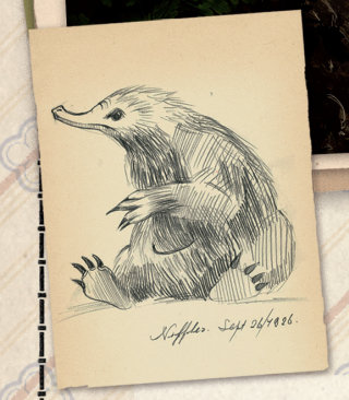 Concept sketch of a Niffler from Fantastic Beasts