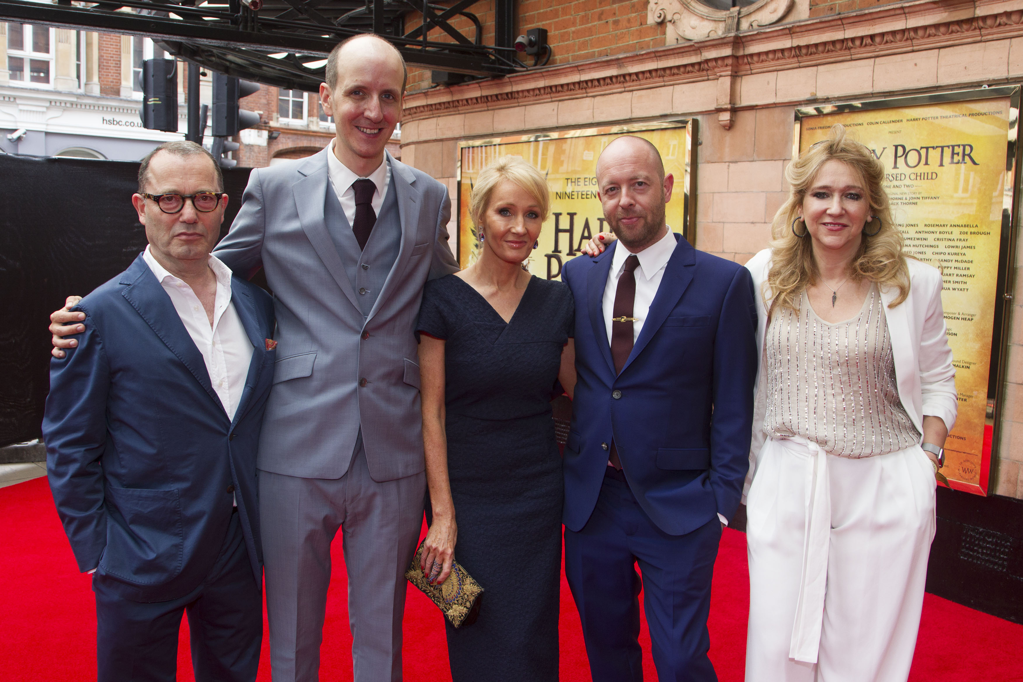 Colin Callender, Jack Thorne, J.K. Rowling, John Tiffany and Sonia Friedman at the West End Premiere of Harry Potter and the Cursed Child.