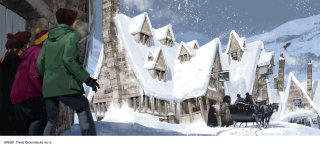 Concept illustration of a snowy Hogsmeade, ad the exterior of the Three Broomsticks