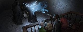 Harry casts his Patronus while in disguise at the Minstry.