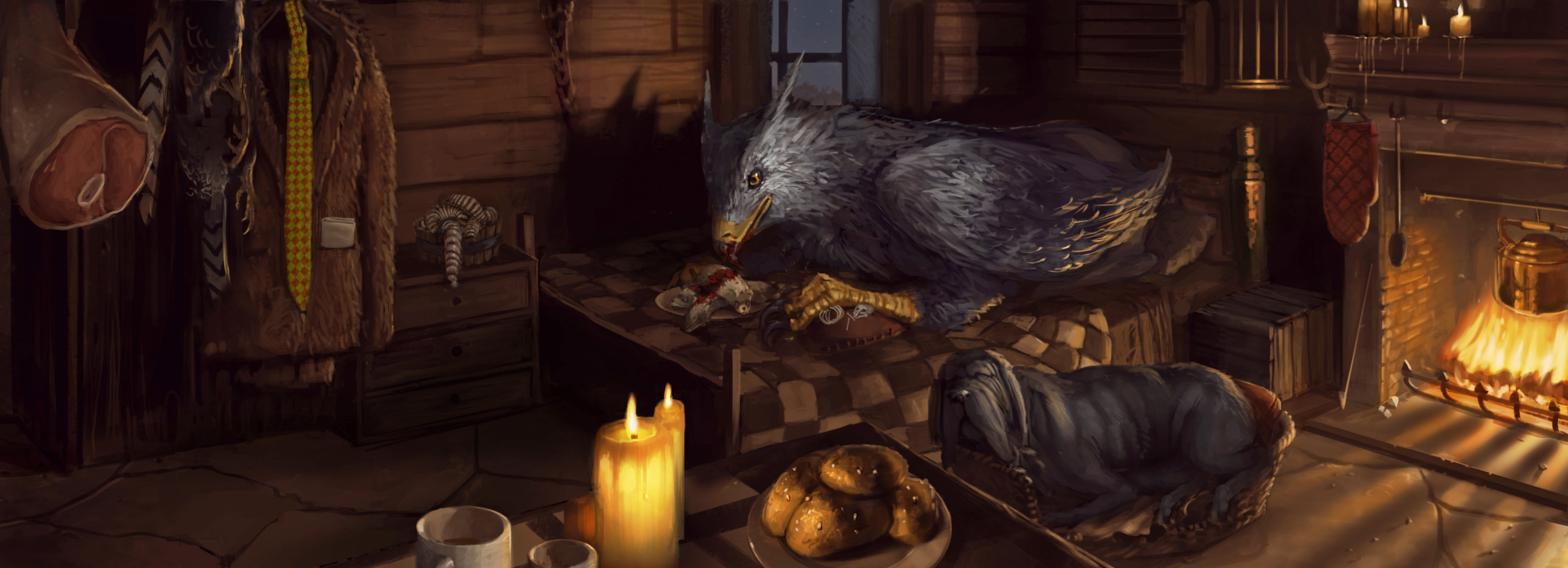 Buckbeak the Hippogriff in Hagrid's hut with Fang.