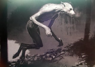 A sketch of a werewolf in the forest from The Prisoner of Azkaban