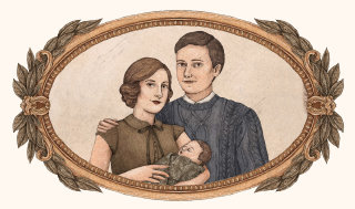 Illustration of Frank and Alice Longbottom with baby Neville