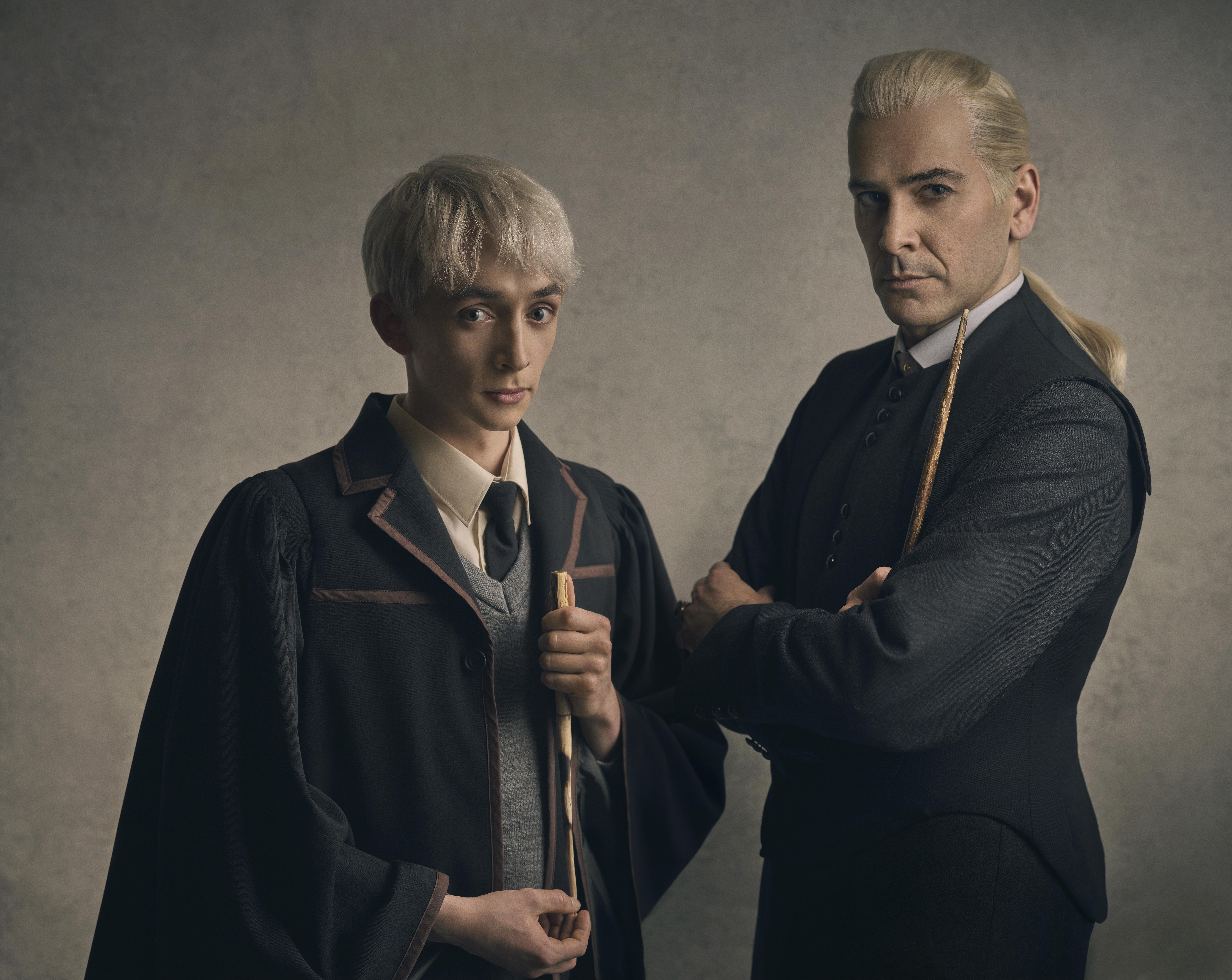 Samuel Blenkin as Scorpius Malfoy and James Howard as Draco Malfoy.