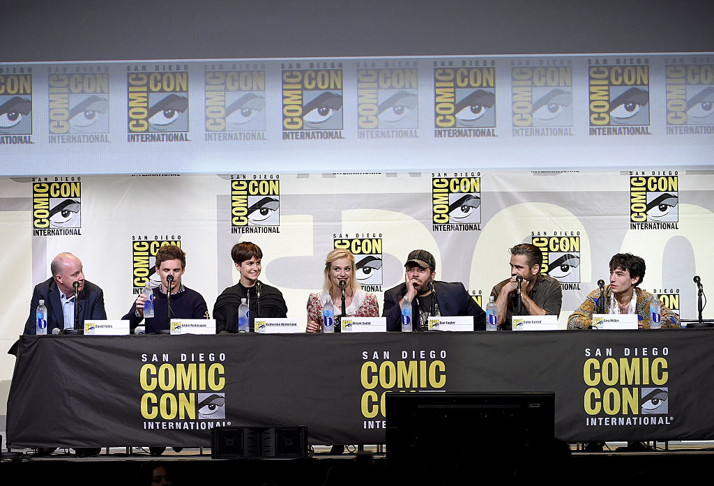 L-R, Director David Yates and actors Eddie Redmayne, Katherine Waterston, Alison Sudol, Dan Fogler, Colin Farrell and Ezra Miller.