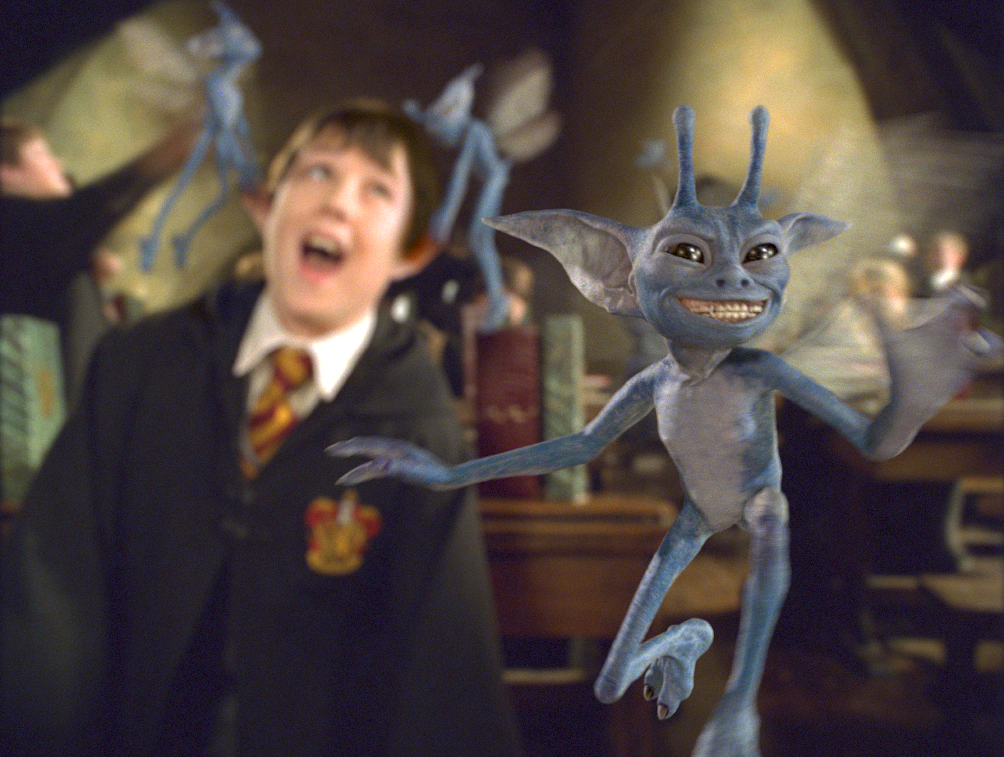 A close-up of a Cornish pixie during Lockhart's Defence Against the Dark Arts class