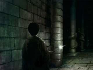 Harry looking inside the Chamber of Secrets