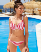 Drift Away Balconette Bikini Top in Red Stripe by Freya