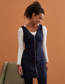 Zip Front Pinafore Dress in Navy/Tan by Bravissimo Clothing