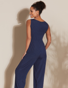 Ruffle Front Jumpsuit in Navy/White Spot
