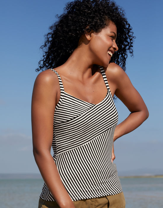 b9c3330306c Non-Padded Panelled Vest Top With Built-In Bra in Black White Stripe