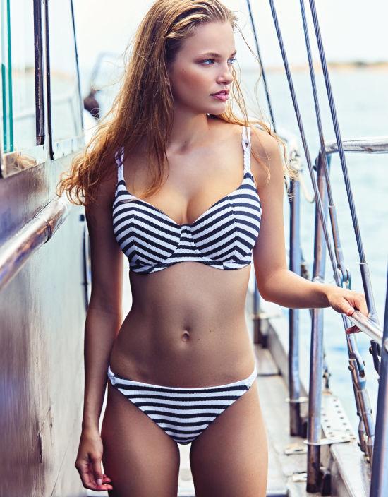 7b9aa7f589 Drift Away Balconette Bikini Top in Navy Stripe by Freya