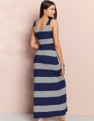 V Neck Stripe Maxi in Grey Marl / Navy by Bravissimo Clothing