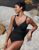 Sundance Plunge Tankini Top in Black by Freya