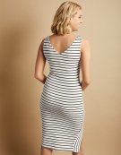 Stripe Panel Column Dress in White/Slate Grey by Bravissimo Clothing
