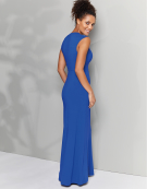Deep V Neck Maxi in Cobalt by Bravissimo Clothing