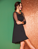 Spot Mesh Skater Dress in Black by Bravissimo Clothing