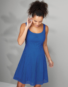 Fit And Flare Broderie Dress in Cobalt by Bravissimo Clothing