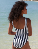 Slogan Swimsuit in Navy Stripe by Bravissimo