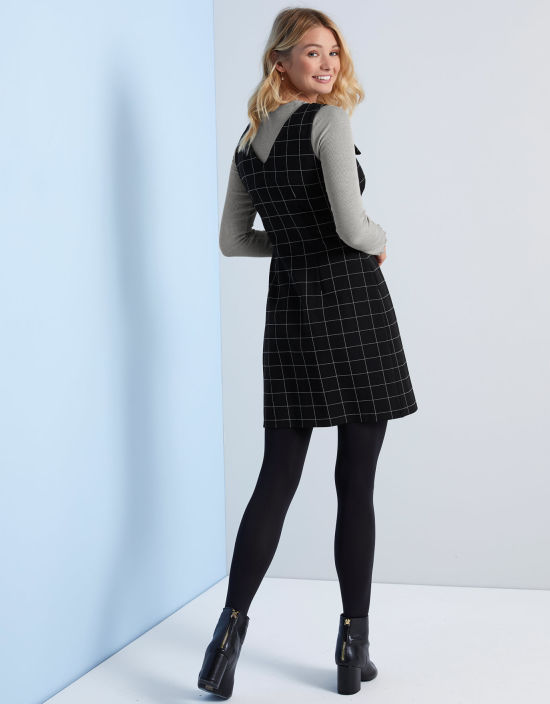 37ef1535bf7 Check Pinafore Dress in Black White by Bravissimo Clothing