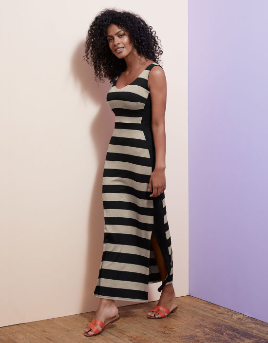 c8d0e013e485 V Neck Stripe Maxi in Black/Oatmeal by Bravissimo Clothing