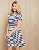 Stripe Ottoman Dress in Navy White by Bravissimo Clothing