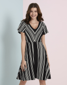 Chevron Stripe dress in Black/White Stripe by Bravissimo Dresses