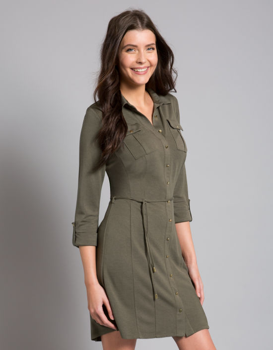 317f02a69610 Jersey Shirt Dress in Sage by Bravissimo Clothing