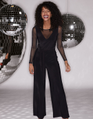 Mesh Insert Jumpsuit in Black by Bravissimo Clothing