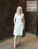 Iris Dress in White/Black Spot by Bravissimo Clothing