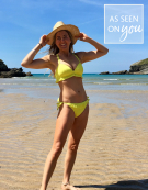 Hawaii Frill Triangle Bikini Top in Yellow by Bravissimo