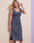 Tie shoulder sundress in Navy White by Bravissimo Dresses