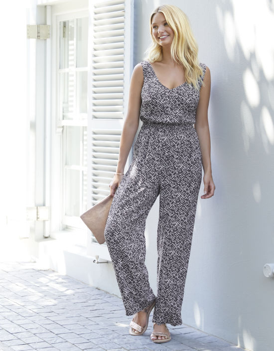 e460c3b61b Wrap Front Jumpsuit in Charcoal Mix by Bravissimo Clothing