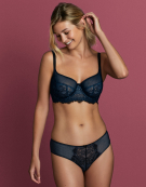 Piper Longline Balconette Bra in Black / Blue by Cleo